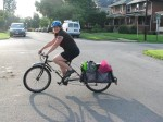 Coming home from the store, Ike snapped a pic of the loaner X and my 4 bags of groceries, including bottled buttermilk, cooking oil, and a gallon of apple juice--the heaviest stuff made super easy on this amazing rig.  Oh, and don't forget the pretty birthday flowers!