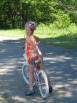 She's excited about riding on her own as much as possible.  Longest ride to date: 25 miles!