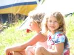 happy campers, Elsa and Annika