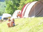 tiny tent city on the ridge in Sparta